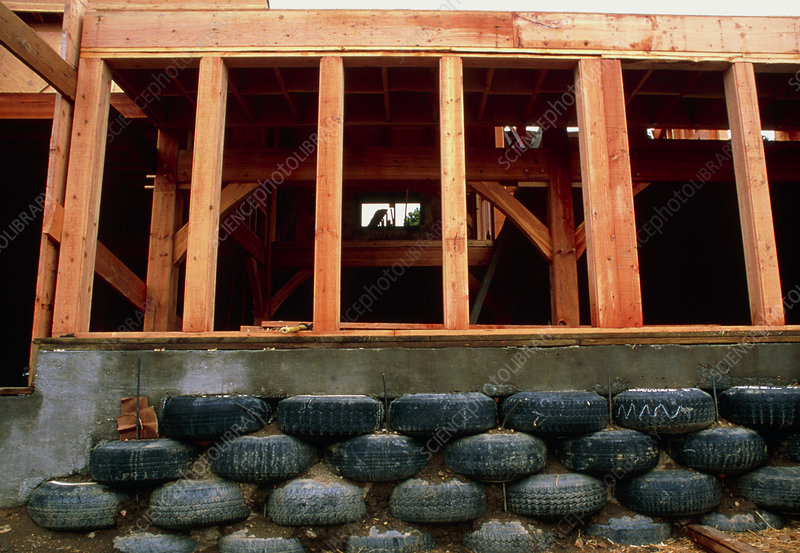 Used tyre wall
