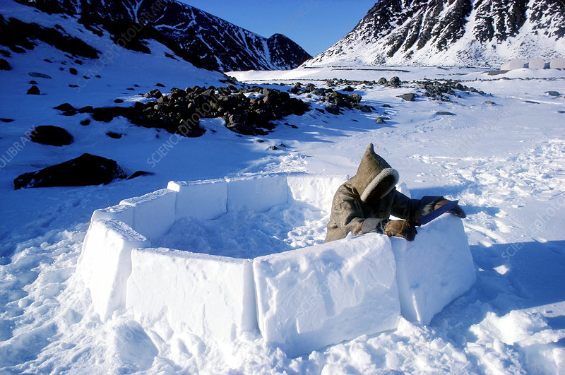 Eskimos making an igloo, Ellesmere Island