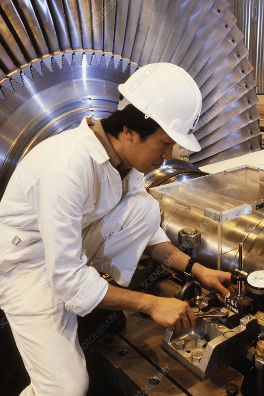 Engineer setting up turbo-visory equipment