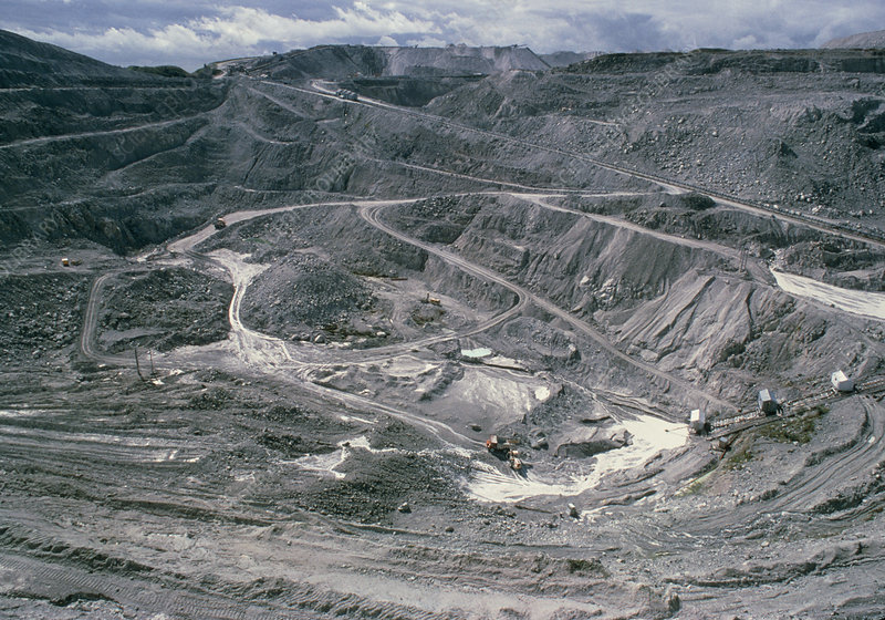 Open-cast mine for the extraction of china clay