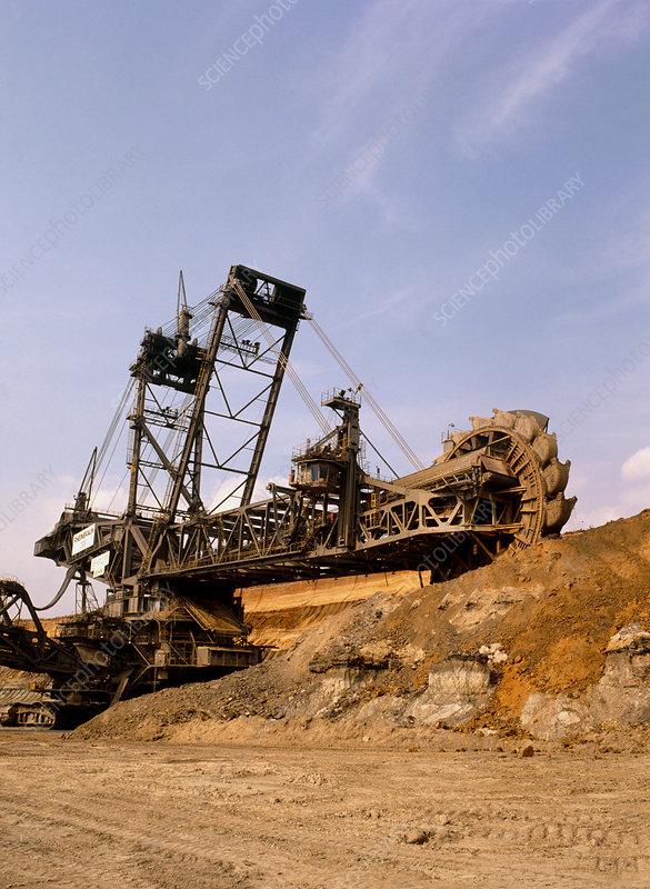 Large bucket wheel excavator at open cast coalmine