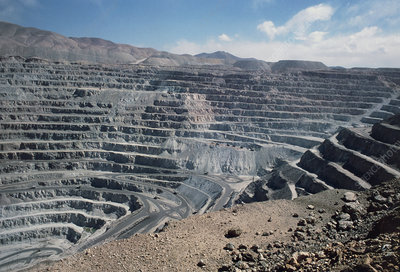 Open cast mine for extracting copper