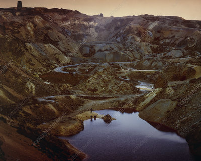 Disused opencast copper mine in Anglesea, Wales