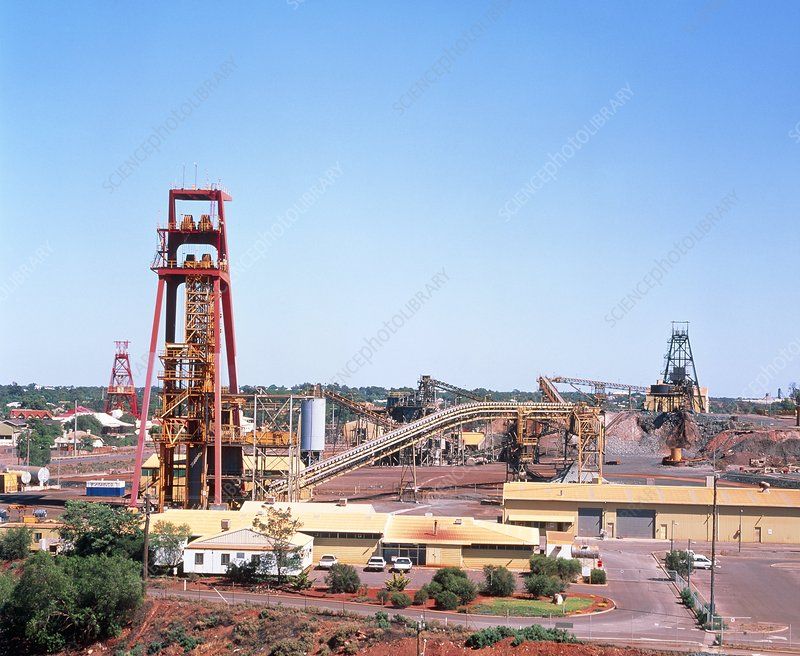 Head frame over shaft of gold mine