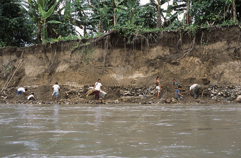 Panning for gold, Ecuador