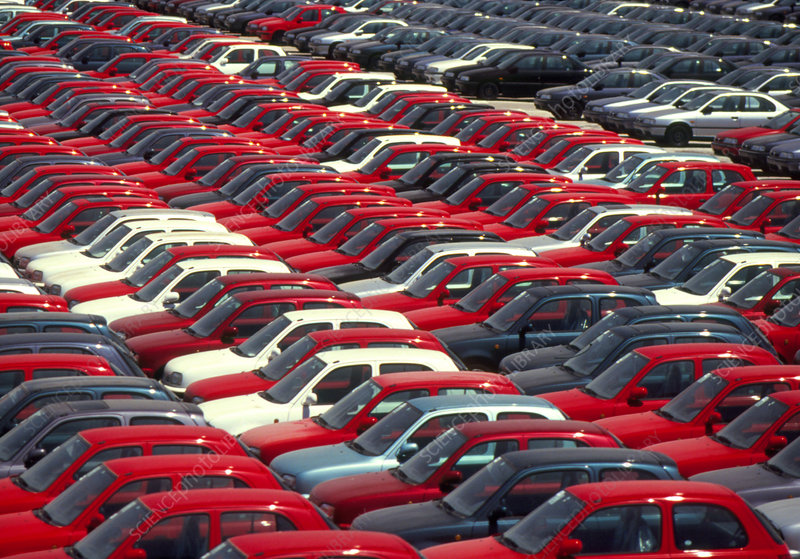 Rows of imported cars, Italy