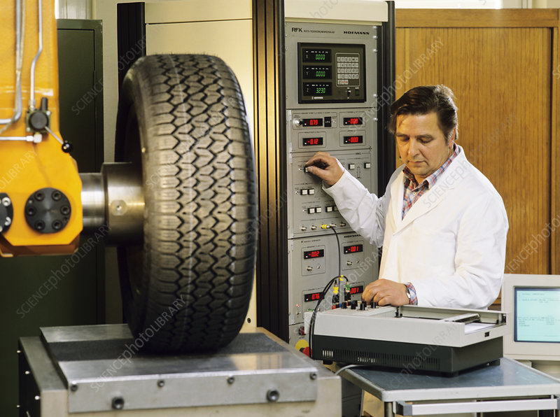 Testing a car tyre