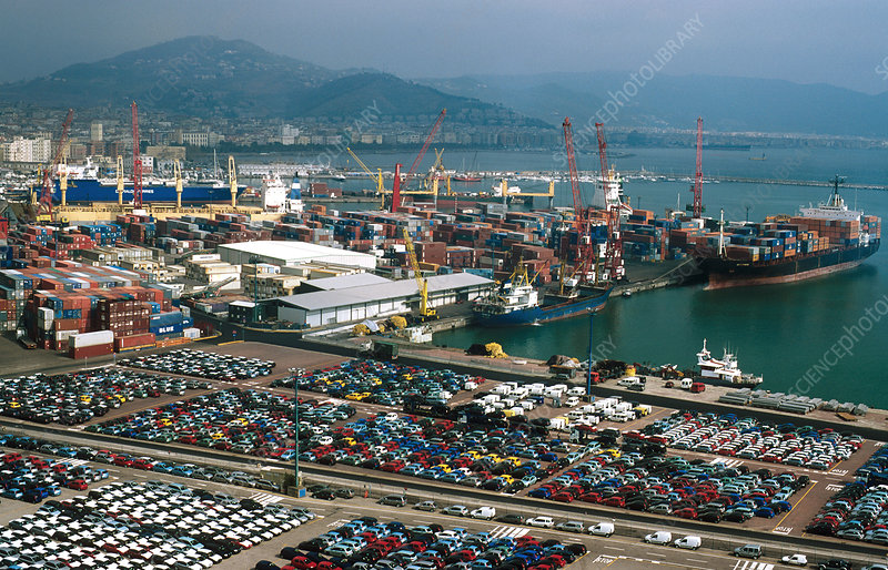 Automobiles for export at the Port of Salerno