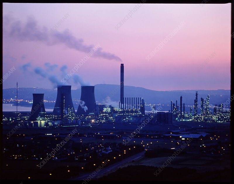 Night time view of a BP petrochemical plant