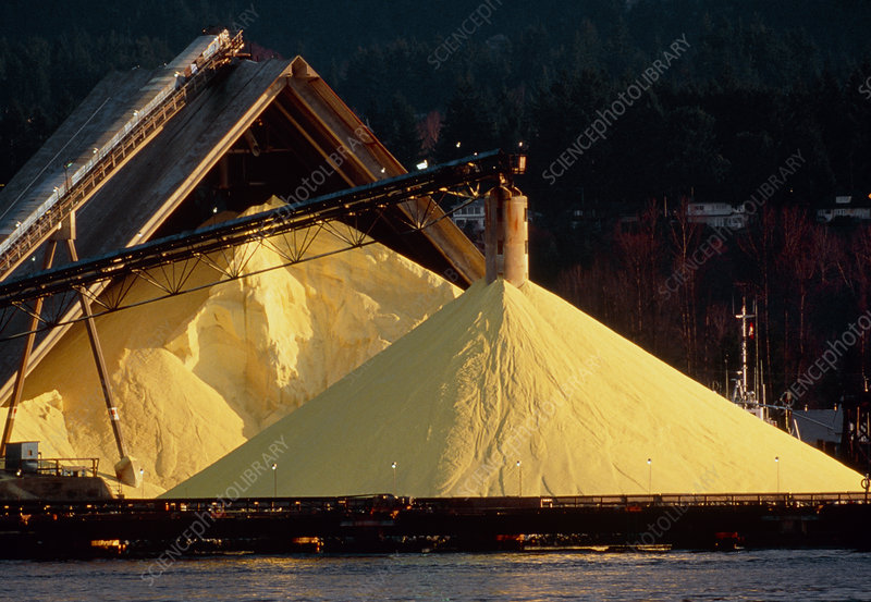 Piles of sulphur at chemical plant