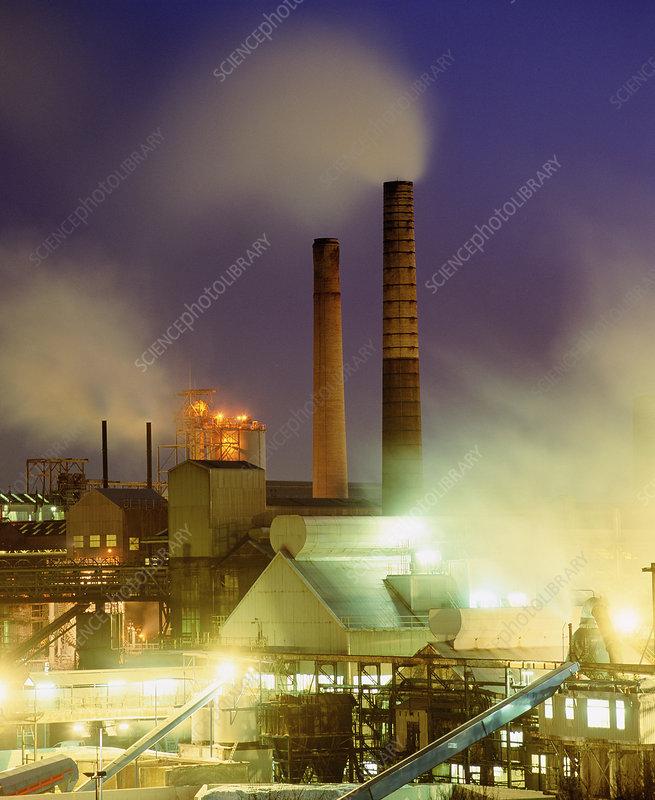 Chemical factory at night