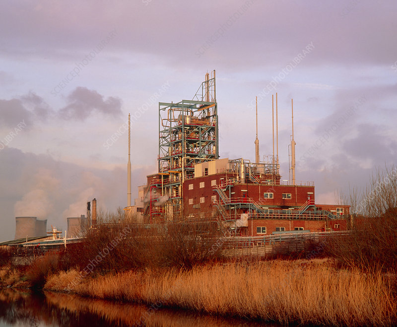View of chemical plant at dusk, Cheshire, England