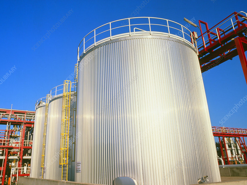 Storage tanks at a chemical factory