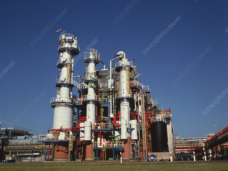 Distillation towers at a chemical factory