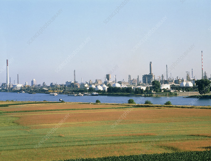 Chemical factories beside a river