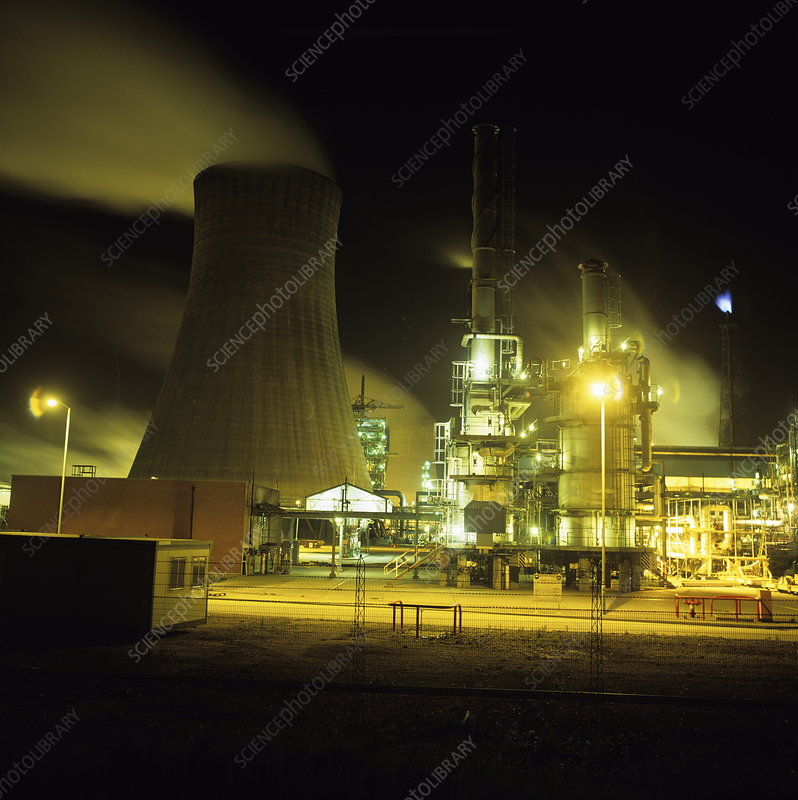 Chemical works at night