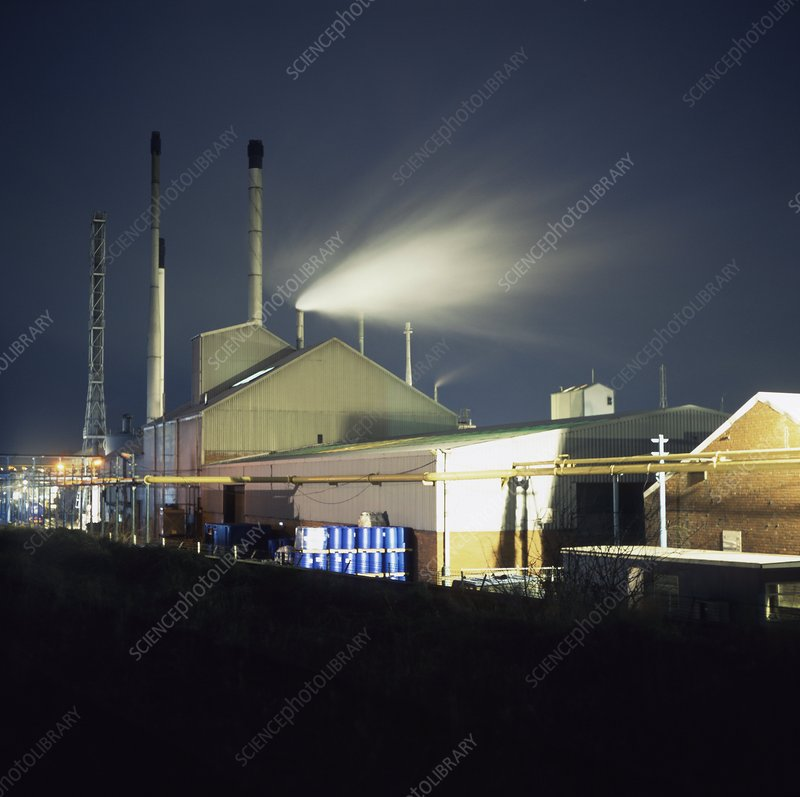 Phosphorous chemical factory at night
