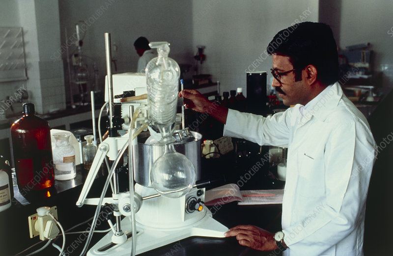 Chemist using distillation apparatus