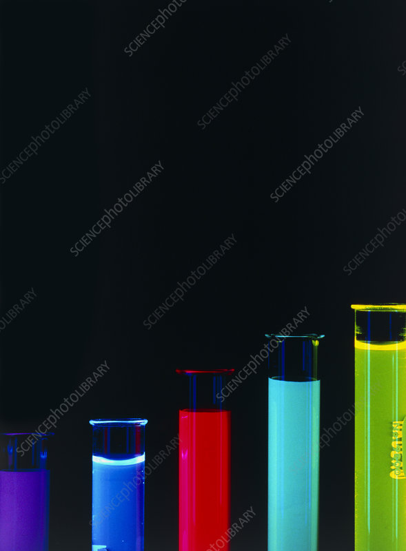 Abstract of test tubes with coloured liquids