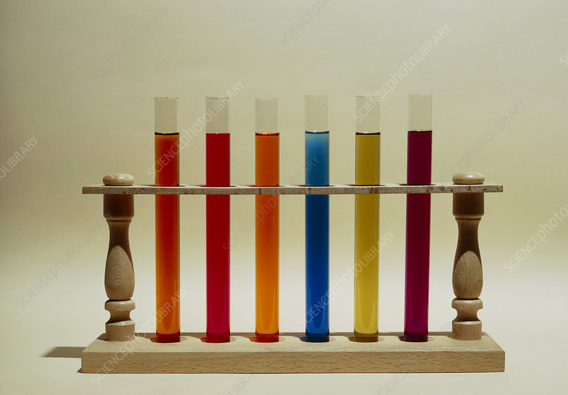 Chemical dyes in laboratory test tubes