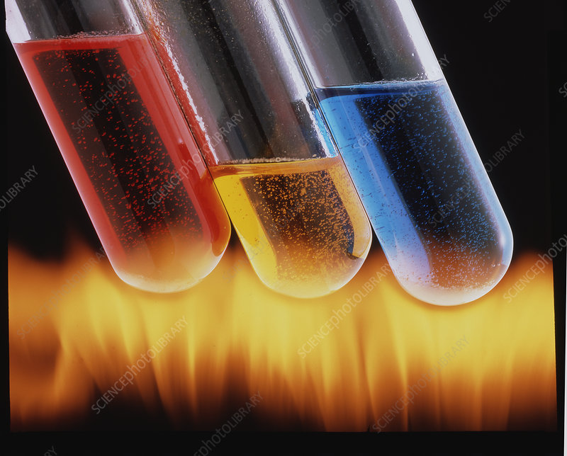 Three coloured test tubes heated over flames