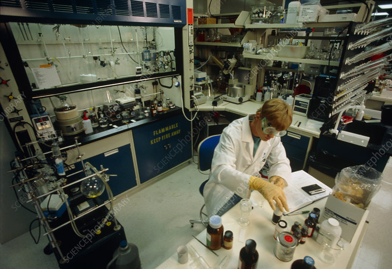 Chemist at work in a research laboratory