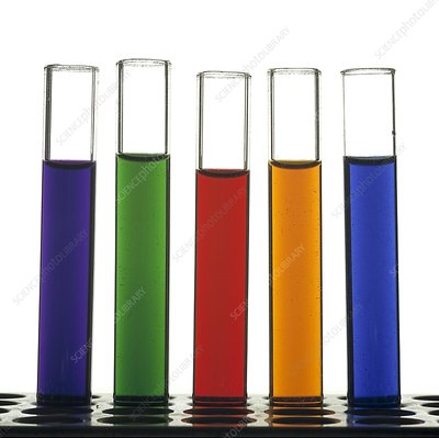 Rack of test tubes containing coloured solutions