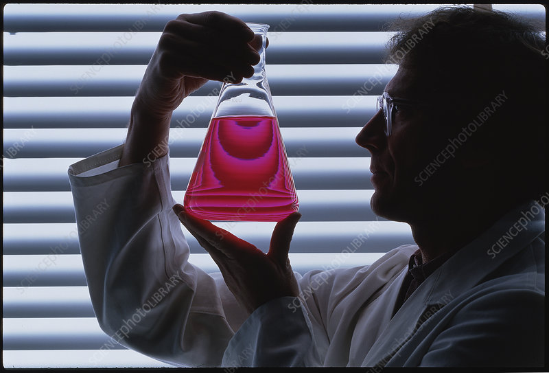 Lab technician holding a conical flask