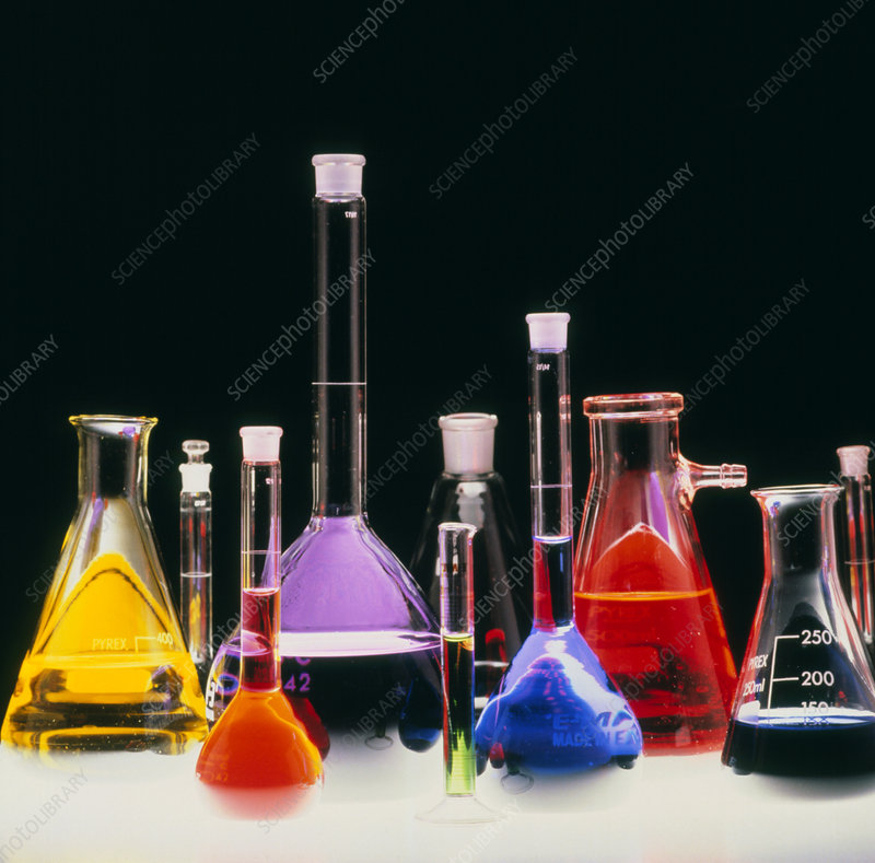Assortment of laboratory flasks holding solutions