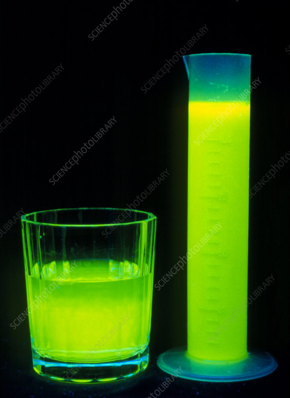 Fluorescence in a glass test tube and cup