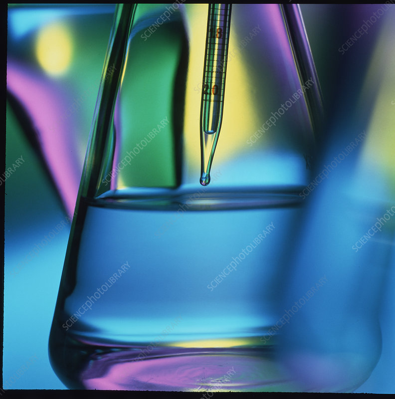 Abstract view of pipette in conical flask