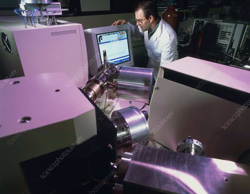 Technician uses an isotope ratio mass spectrometer
