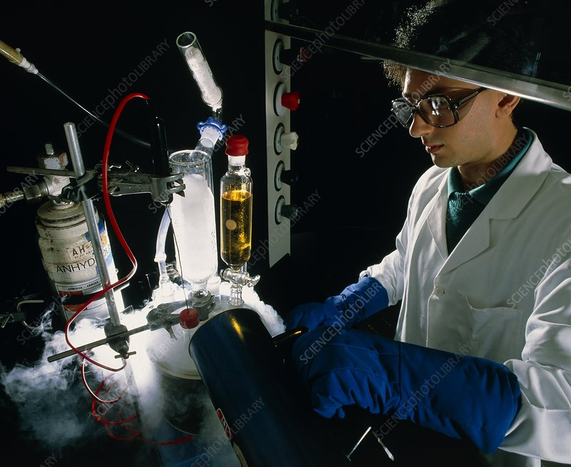 Chemist with a low temperature experiment