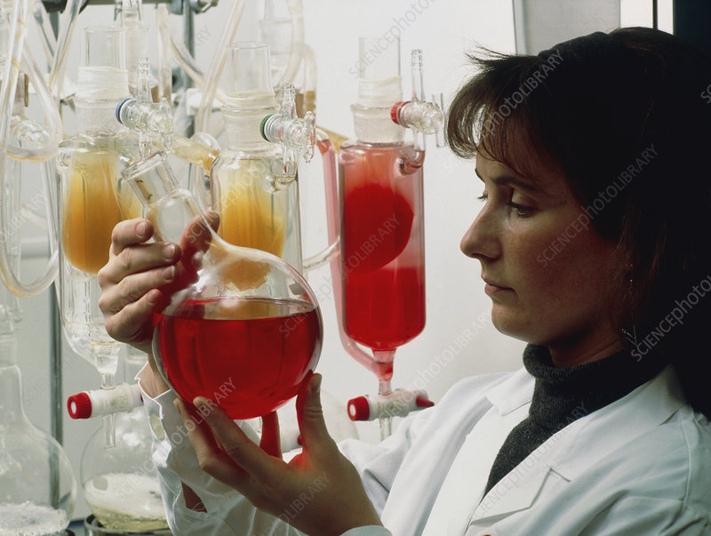 Scientist performs a chemical dialysis