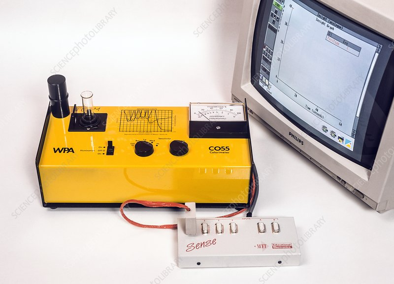 Electronic colorimeter tests a sample