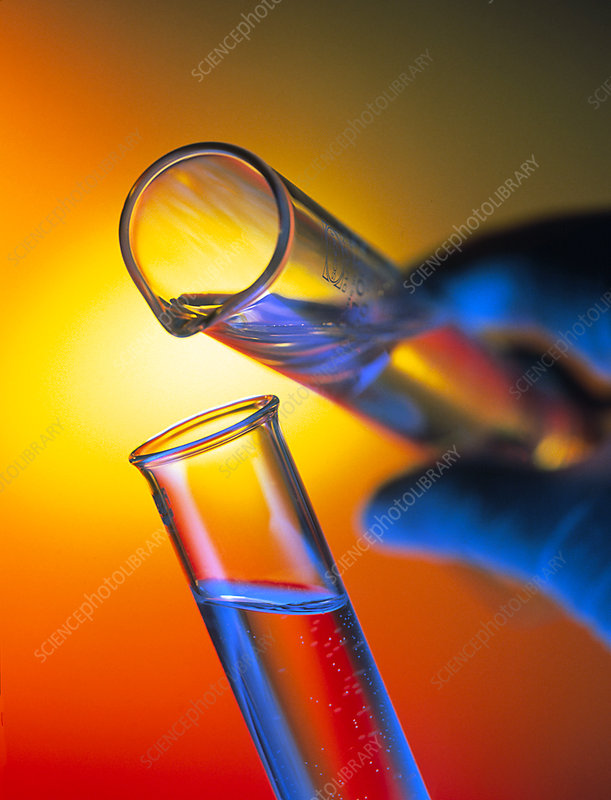 Measuring cylinder pouring fluid into a test tube