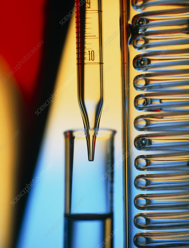 Pipette, test tube and condenser coil