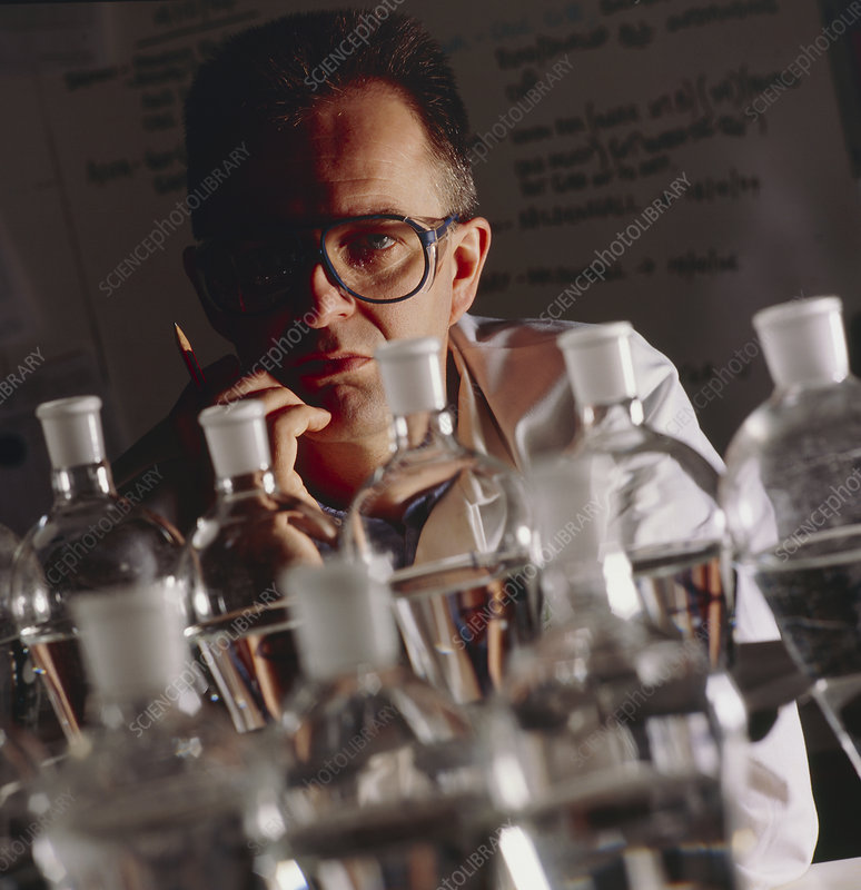Chemist at work in his laboratory