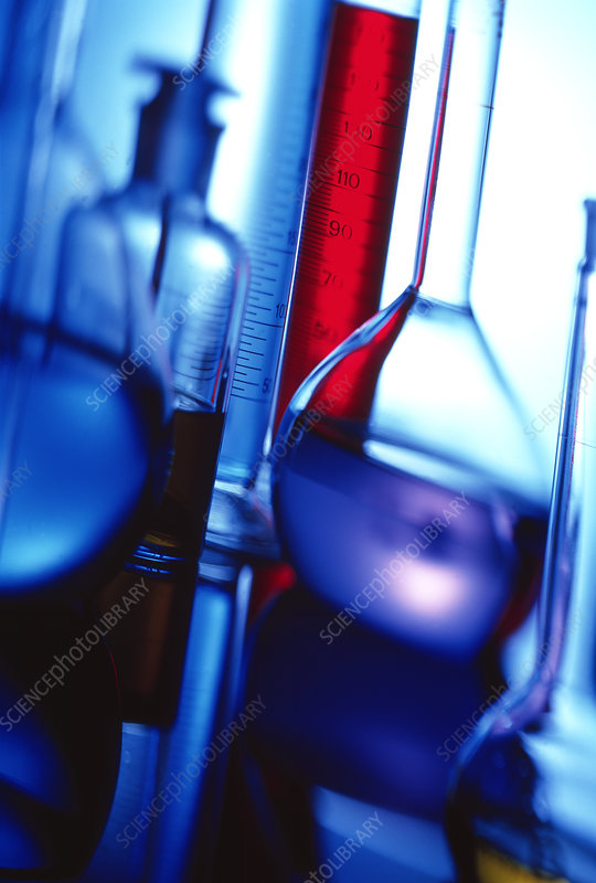 Assortment of laboratory glassware
