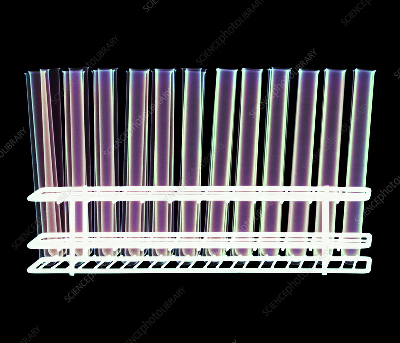 Test tubes in a rack, X-ray