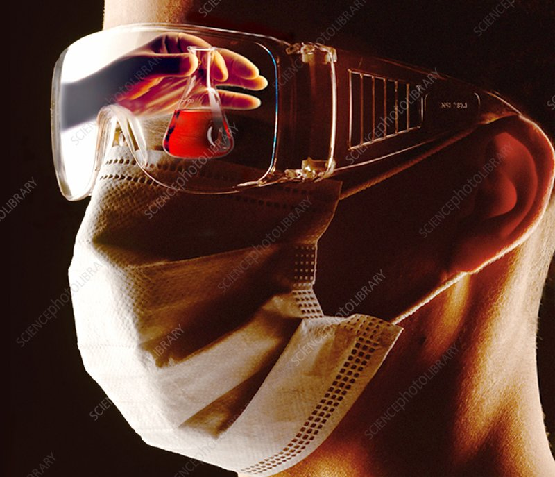 Masked laboratory worker