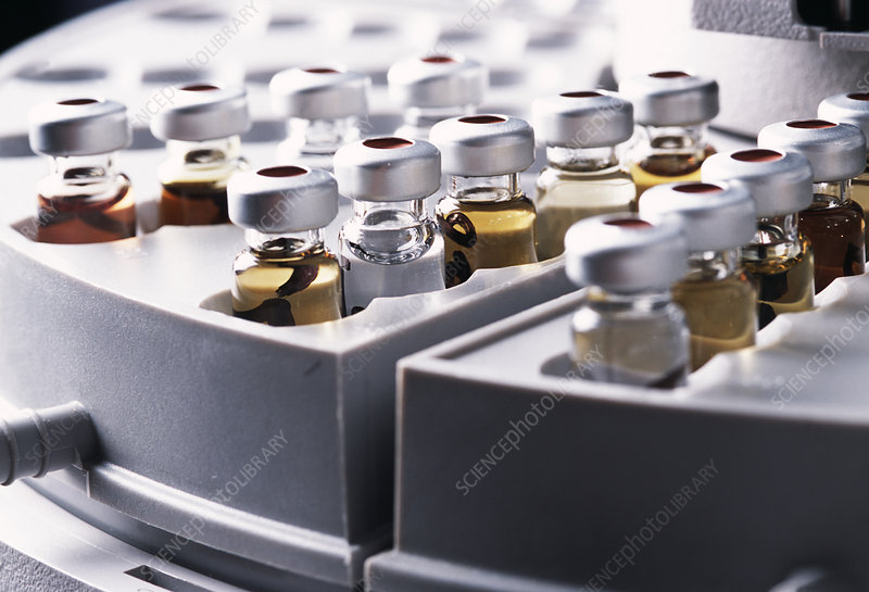Vials in a rack