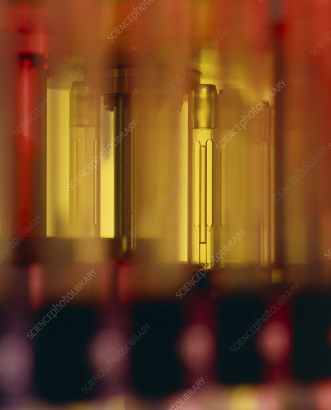 Test tubes in an NMR spectrometer