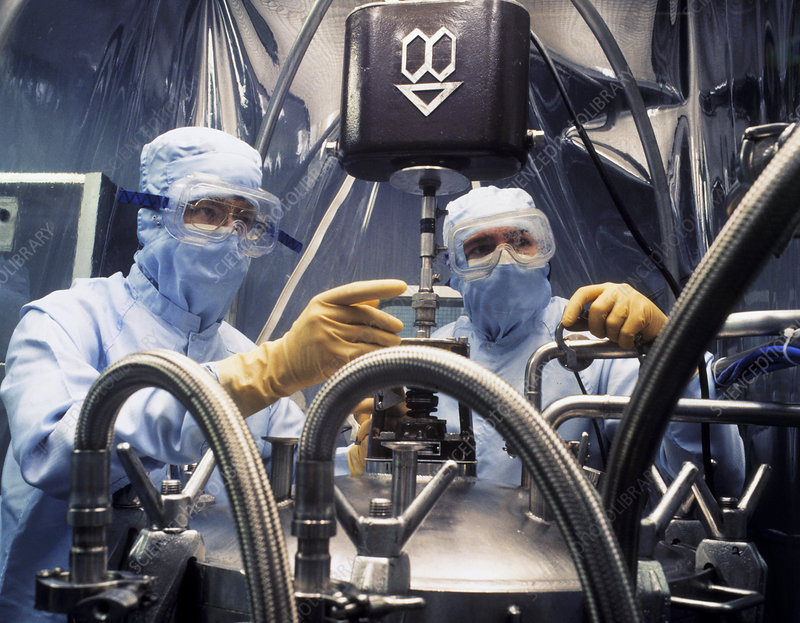 Pharmaceutical technicians in clean room