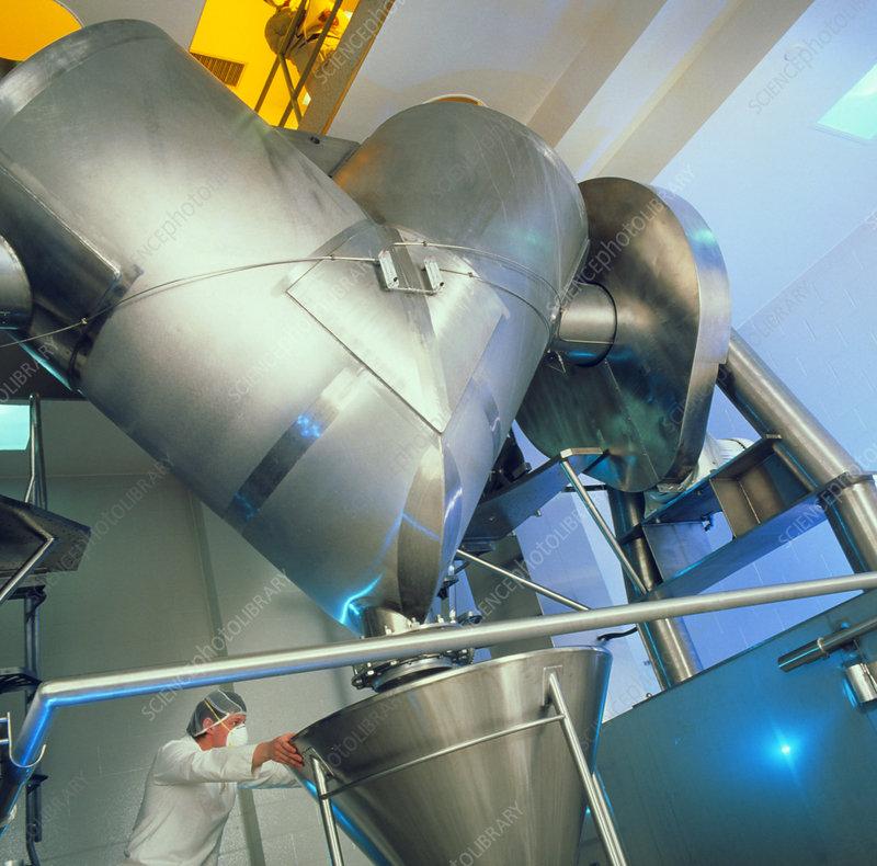 Steel hopper in drug production factory
