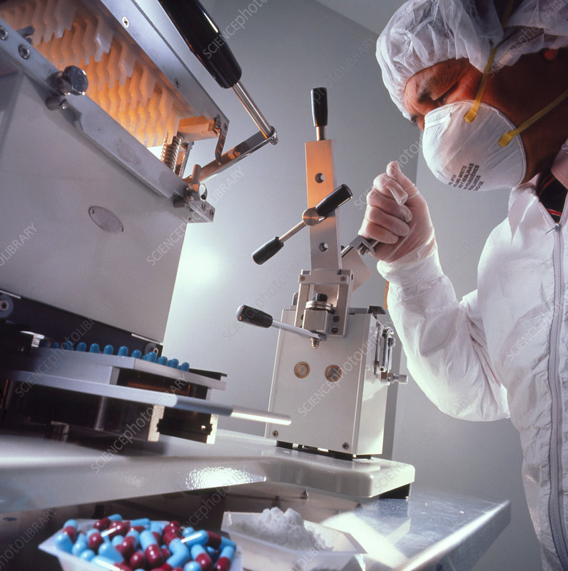 Technician operation drug manufacturing equipment