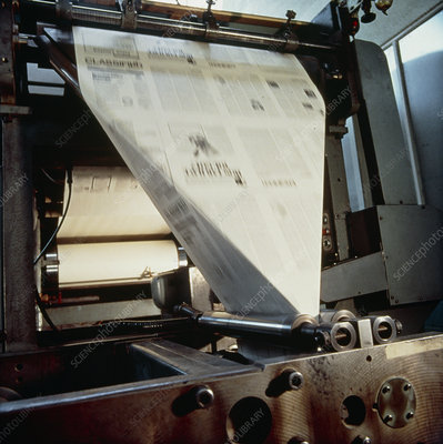 Sheet-folding end of a newspaper printing press