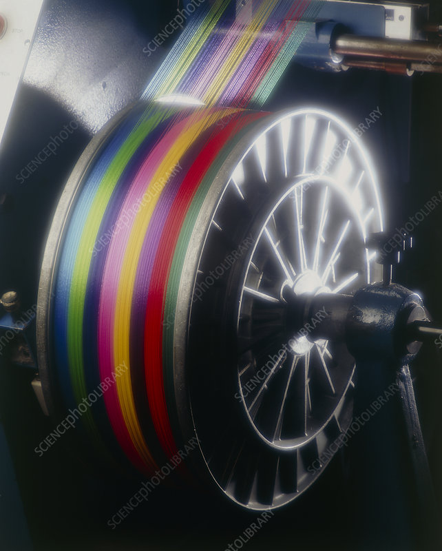 Roll of coloured thread at a weaving mill