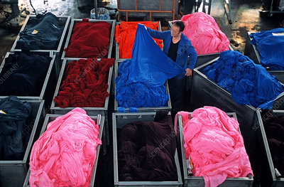 Textile industry, dyed cloths