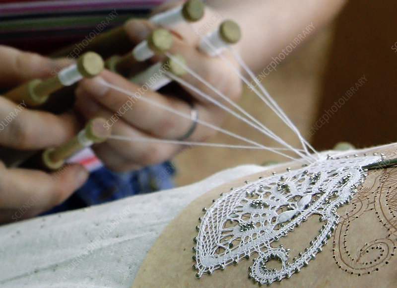Lace production using bobbins